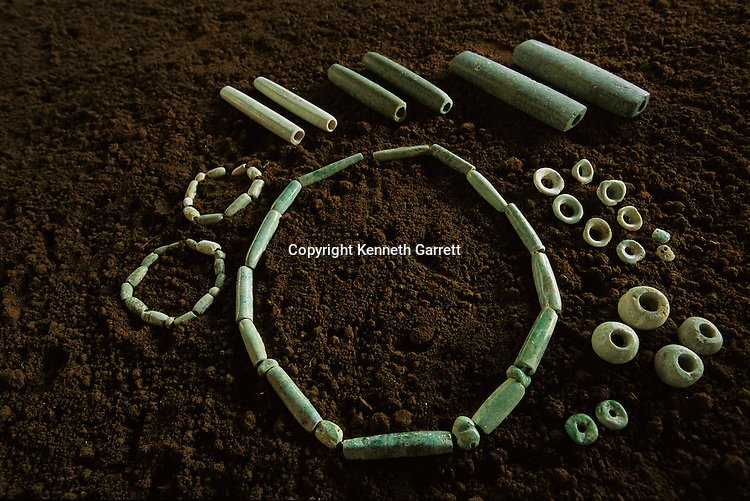 Takalik Abaj, Jade necklace and jewelry from royal burial, early Maya grave, Guatemala, archaeology, Americas, artifact