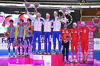 SCHAATSEN: BERLIJN: Sportforum, 07-12-2013, Essent ISU World Cup, podium Team Pursuit, Cheol-Min Kim, Seung-Hoon Lee, Hyong-Jun Joo, (KOR), Jan Blokhuijsen, Douwe de Vries, Jorrit Bergsma (NED), Konrad Niedzwiedzki, Jan Szimanski, Zbigniew Brodka (POL), ©foto Martin de Jong