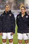 27 April 2008: Carli Lloyd (USA) (11) and Heather O'Reilly (USA) (9). The United States Women's National Team defeated the Australia Women's National Team 3-2 at WakeMed Stadium in Cary, NC in a rain delayed women's international friendly soccer match.