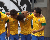 Brazil midfielder Oscar (10) celebrates his goal with teammates. In an international friendly (Clash of Titans), Argentina defeated Brazil, 4-3, at MetLife Stadium on June 9, 2012.