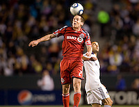 Toronto FC midfielder Sam Cronin (2) beats LA Galaxy forward Landon Donovan (10) to the ball. The LA Galaxy and Toronto FC played to a 0-0 draw at Home Depot Center stadium in Carson, California on Saturday May 15, 2010.  .