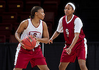 Stanford, CA., March 25, 2013,-- Amber Orrange and Jasmine Camp both with the Stanford women's basketball team workout during team practice Monday, March 25, 2013, for there second round NCAA 2013, basketball championship game against Michigan, at Maples Pavilion.  ( Norbert von der Groeben )