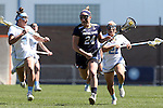 03 April 2016: Notre Dame's Casey Pearsall (24) is chased by North Carolina's Marie McCool (4) and Gianna Bowe (21). The University of North Carolina Tar Heels hosted the University of Notre Dame Fighting Irish in a 2016 NCAA Division I Women's Lacrosse match. Maryland won the game 14-8.