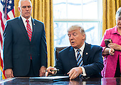 U.S. President Donald J. Trump prepares to sign one of three executive actions that he said are 'designed to restore safety in America' while Vice President Mike Pence (L) looks on in the Oval Office of the White House in Washington, DC, USA, 09 February 2017. On 08 February, after a contentious battle on party lines, the Senate voted to confirm Sessions as attorney general.<br /> Credit: Jim LoScalzo / Pool via CNP