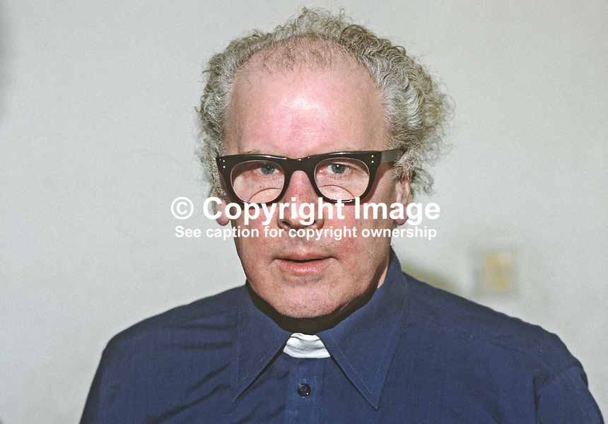 Father Des Wilson, Roman Catholic priest, N Ireland, who applied to for retired status so that he could work with minimal episcopal interference. He moved into a council house in Ballymurphy, a deprived area of Belfast, to be among the people to whom he was  going to devote the rest of his life. 19850031DW.<br /> <br /> Copyright Image from Victor Patterson, 54 Dorchester Park, Belfast, UK, BT9 6RJ<br /> <br /> t1: +44 28 9066 1296 (from Rep of Ireland 048 9066 1296)<br /> t2: +44 28 9002 2446 (from Rep of Ireland 048 9002 2446)<br /> m: +44 7802 353836<br /> <br /> e1: victorpatterson@me.com<br /> e2: victorpatterson@gmail.com<br /> <br /> The use of any of my copyright images is subject to my Terms &amp; Conditions.<br /> <br /> It is IMPORTANT that you familiarise yourself with them. They are available on my website, victorpatterson.com.<br /> <br /> None of my copyright images may be used on the Internet unless they are visibly watermarked, i.e. &copy; Victor Patterson within the body of the image. Additionally metadata denoting my copyright must NOT be deleted. <br /> <br /> Web use is extra at currently recommended NUJ rates.