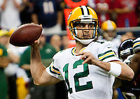 Aaron Rodgers, the reigning NFL MVP, throws six touchdowns as the visiting Green Bay Packers defeat the Houston Texans on October 14, 2012.