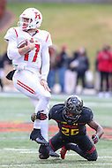 College Park, MD - November 26, 2016: Rutgers Scarlet Knights quarterback Giovanni Rescigno (17) gets tackled by Maryland Terrapins defensive back Darnell Savage Jr. (26)during game between Rutgers and Maryland at  Capital One Field at Maryland Stadium in College Park, MD.  (Photo by Elliott Brown/Media Images International)