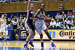 29 December 2015: Duke's Oderah Chidom (22) and Western Carolina's Lindsey Burleson (35). The Duke University Blue Devils hosted the Western Carolina University Catamounts at Cameron Indoor Stadium in Durham, North Carolina in a 2015-16 NCAA Division I Women's Basketball game.