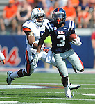 Mississippi running back Jeff Scott (3) is chaqsed by Auburn defensive back Jermaine Whitehead (9) at Vaught-Hemingway Stadium in Oxford, Miss. on Saturday, October 13, 2012. (AP Photo/Oxford Eagle, Bruce Newman)..
