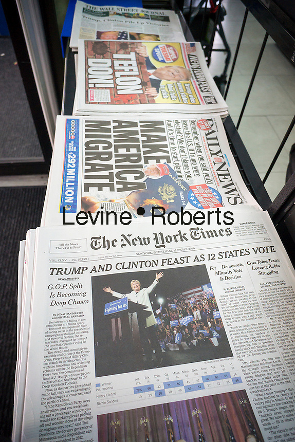 """New York newspapers on Wednesday, March 2, 2016 report the results of the previous day's """"Super Tuesday"""" primary voting. (© Richard B. Levine)"""