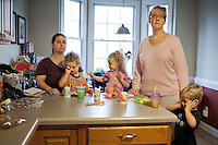 Karen Wade, Grady, Emma, Kelli Evans and Evan, together for 17 years, Durham, NC.