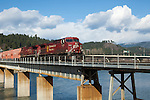 Train from Canada traveling over the bridge in Bonners Ferry, Idaho