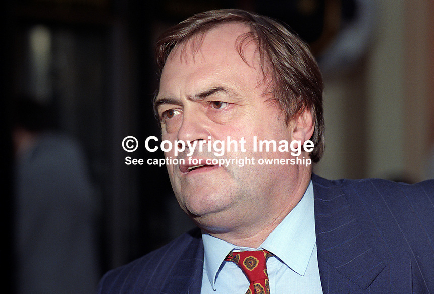 John Prescott, MP, Labour Party, UK, 19921002JP1.<br /> <br /> Copyright Image from Victor Patterson, 54 Dorchester Park, Belfast, UK, BT9 6RJ<br /> <br /> t1: +44 28 9066 1296<br /> t2: +44 28 9002 2446<br /> m: +44 7802 353836<br /> <br /> e1: victorpatterson@me.com<br /> e2: victorpatterson@gmail.com<br /> <br /> www.victorpatterson.com<br /> <br /> IMPORTANT: Please see my Terms and Conditions of Use at www.victorpatterson.com