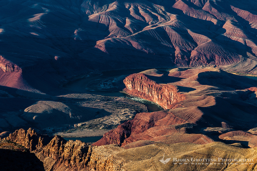 United States, Arizona, Grand Canyon. View from Navajo Point, close to Desert View. Colorado River.