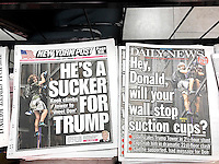 New York tabloid newspapers feature on their front pages Stephen Rogata, 19, of Great Falls, VA on his previous day's climb of Trump Tower in New York using suction cups. (© Richard B. Levine)