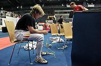 European Championships Fencing 2010 / Fecht Europameisterschaft 2010 in Leipzig - Competition Championat d'europe - in picture: The German mens foil team loses the match against Great Britian (45:41) - Peter Joppich was the last for the Germans - he sits disappointed on a chair after the match   . Foto: Norman Rembarz..Norman Rembarz , Autorennummer 41043728 , Augustenstr. 2, 04317 Leipzig, Tel.: 01794887569, Hypovereinsbank: BLZ: 86020086, KN: 357889472, St.Nr.: 231/261/06432 - Jegliche kommerzielle Nutzung ist honorar- und mehrwertsteuerpflichtig! Persönlichkeitsrechte sind zu wahren. Es wird keine Haftung übernommen bei Verletzung von Rechten Dritter. Autoren-Nennung gem. §13 UrhGes. wird verlangt. Weitergabe an Dritte nur nach  vorheriger Absprache..