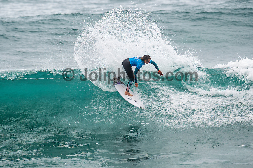 BELLS BEACH, Victoria/AUS (Saturday, March 26, 2016) Alessa Quizon (HAW) - Action at the Rip Curl Pro Bells Beach, the second stop on the World Surf League (WSL) Championship Tour (CT), continued today with the remaining six heats of Round 1, Round two and Round three of the Women's.<br /> There were light West to South West winds through the day with the swell in the 4'-6' range.<br /> <br /> Bells Beach has been hosting surfing tournaments for more than 50 years now, making it the most renowned spot on the raw and rugged southern coast of Victoria, Australia. The list of  Rip Curl Pro event champions is a veritable who's who of surfing icons, including many world champions.<br /> <br /> Surfing's greats have a way of dominating Bells. Mark Richards, Kelly Slater, and Mick Fanning all have four Bells trophies; Michael Peterson and Sunny Garcia, three; While Simon Anderson, Tom Curren, Joel Parkinson, Andy Irons, and Damien Hardman each grabbed a pair.<br /> <br /> The story is similar on the women's side. Lisa Andersen and Stephanie Gilmore have four Bells titles; Layne Beachley and Pauline Menczer, three; while Kim Mearig and Sally Fitzgibbons each have two.<br /> <br /> The 2016 event is about to kick off tomorrow and there was a packed warm up session at Bells this morning. <br /> Photo: joliphotos.com
