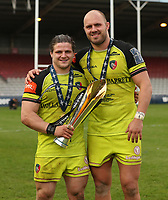 Leicester Tigers&rsquo; Harry Thacker and Leicester Tigers&rsquo; Lachlan McCaffrey <br /> <br /> Photographer Rachel Holborn/CameraSport<br /> <br /> Anglo-Welsh Cup Final - Exeter Chiefs v Leicester Tigers - Sunday 19th March 2017 - The Stoop - London<br /> <br /> World Copyright &copy; 2017 CameraSport. All rights reserved. 43 Linden Ave. Countesthorpe. Leicester. England. LE8 5PG - Tel: +44 (0) 116 277 4147 - admin@camerasport.com - www.camerasport.com