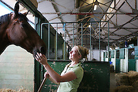 3/8/2010. Lesley Webb from Co Down is pictured at the RDS  getting her horse Bailf Ricky ready for the start of the Fáilte Ireland Dublin Horse show. Picture James Horan/Collins Photos
