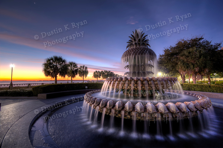 Charleston Pineapple Fountain Sunrise Waterfront Park Downtown Charleston South Carolina Winter 2010