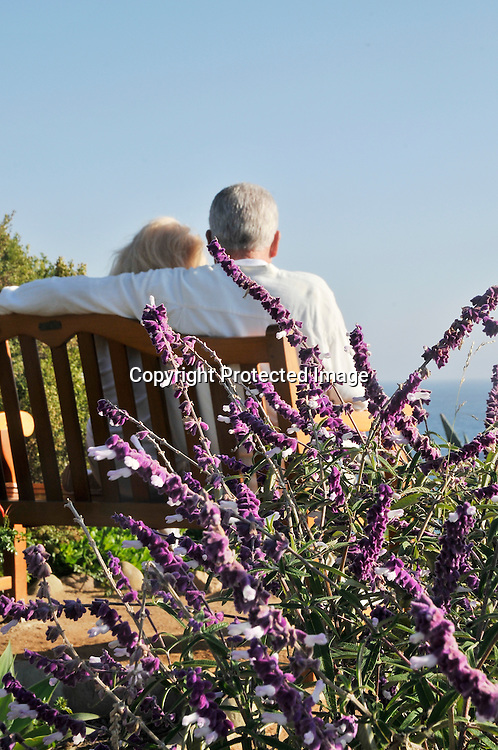 Stock photo of retired couple at beach