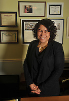 NWA Democrat-Gazette/Michael Woods --01/14/2015-- w @NWAMICHAELW... L. Mireya Reith, executive director of the Arkansas United Community Coalition, at her home office in Fayetteville.