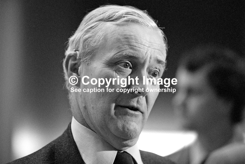 Tony Wedgwood Benn, MP, Labour Party, UK, speaking, annual conference, Blackpool, 1984. 19840173TWB1.<br /> <br /> Copyright Image from Victor Patterson, 54 Dorchester Park, Belfast, UK, BT9 6RJ<br /> <br /> t1: +44 28 9066 1296 (from Rep of Ireland 048 9066 1296)<br /> t2: +44 28 9002 2446 (from Rep of Ireland 048 9002 2446)<br /> m: +44 7802 353836<br /> <br /> e1: victorpatterson@me.com<br /> e2: victorpatterson@gmail.com<br /> <br /> www.victorpatterson.com<br /> <br /> IMPORTANT: Please see my Terms and Conditions of Use at www.victorpatterson.com