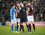 Hearts v St Johnstone&hellip;05.11.16  Tynecastle   SPFL<br />Referee Don Roberston has words with Danny Swanson and Igor Rossi<br />Picture by Graeme Hart.<br />Copyright Perthshire Picture Agency<br />Tel: 01738 623350  Mobile: 07990 594431