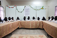 A class at the Health Science Institute in Houdeidah. Many of the young women at this college come from the surrounding countryside and the plan is that they will return to work in their villages where there is one midwife for every 8,000 people.  ..