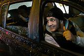 An unidentified driver in Brussels' Molenbeek neighbourhood, a hotbed of Islamic fundamentalism.