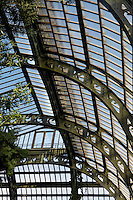 Plant History Glasshouse (formerly the Australian Glasshouse), 1830s, Charles Rohault de Fleury, Jardin des Plantes, Museum National d'Histoire Naturelle, Paris, France. View from below, showing the glass and iron roof structure.