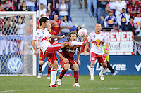 Rafael Marquez (4) of the New York Red Bulls plays the ball as Kyle Beckerman (5) of Real Salt Lake watches. The New York Red Bulls and Real Salt Lake played to a 0-0 tie during a Major League Soccer (MLS) match at Red Bull Arena in Harrison, NJ, on October 09, 2010.