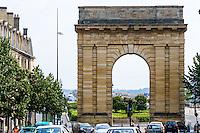 France, Bordeaux. Porte de Bourgogne, and old city wall gate.