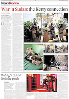 Tearsheet of &quot;War in Sudan: the Kerry connection&quot; published in The Irish Times Weekend Review magazine