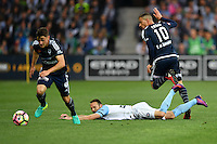 Melbourne, 17 December 2016 - MARCO ROJAS (7) of the Victory wins the ball from JOSHUA ROSE (3) of Melbourne City in the round 11 match of the A-League between Melbourne City and Melbourne Victory at AAMI Park, Melbourne, Australia. Victory won 2-1 (Photo Sydney Low / sydlow.com)