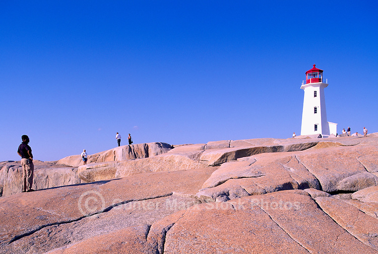 Peggys Cove (Peggy's Cove), NS, Nova Scotia, Canada - Peggys Point Lighthouse (built 1914) on Atlantic East Coast