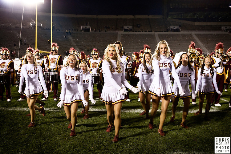 10/17/09 - South Bend, IN:  The USC song girls perform with the USC marching band following their victory over Notre Dame at Notre Dame Stadium on Saturday.  USC won the game 34-27 to extend its win streak over Notre Dame to 8 games.  Photo by Christopher McGuire.