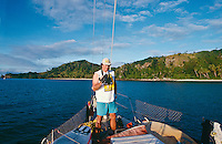 Simon Anderson (AUS), surfing on a boat trip to the southern islands of Fiji. circa 1990..photo:  joliphotos.com