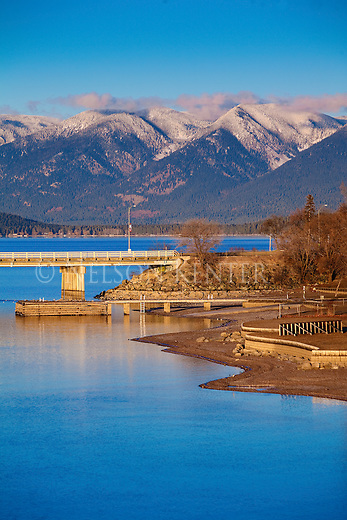 Flathead Lake shoreline at Polson, Montana with the Mission Mountains across the lake