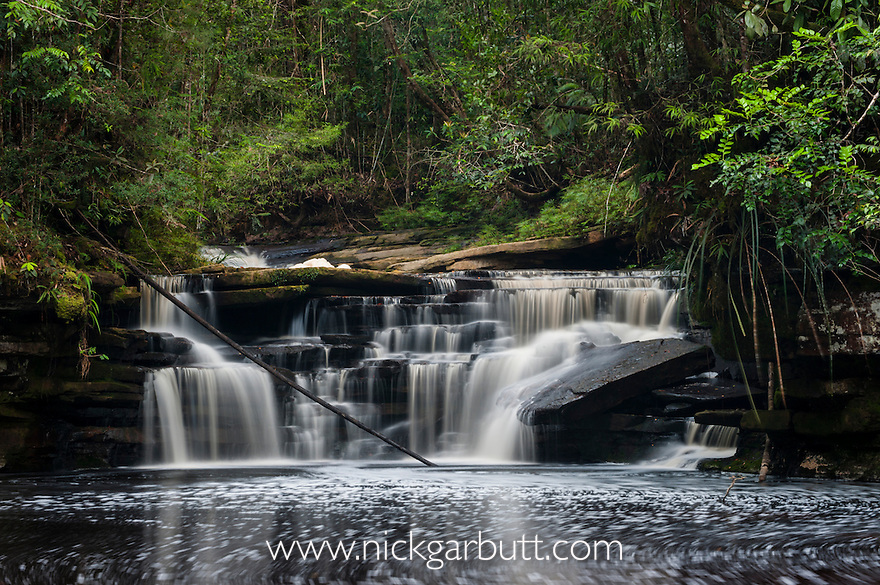 The upper tier of Giluk Falls, edge of southern plateau. Maliau Basin - Sabah's 'Lost World' - Borneo.