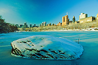NYC, NY, Central Park, The Lake, NYC Skyline, Winter, Designed by Frederick Law Olmsted and Calvert Vaux