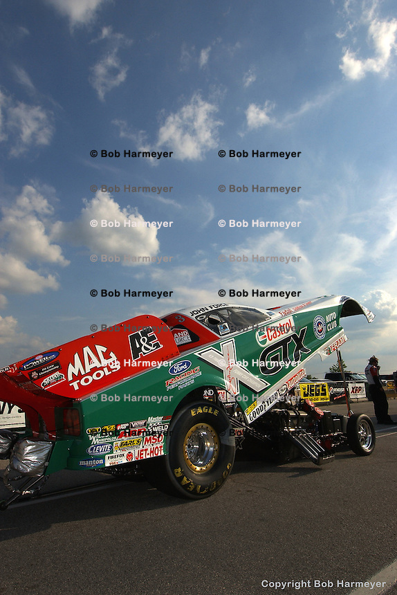 MADISON, IL - JUNE 25: The Funny Car of driver John Force in the staging lanes during the O'Reilly NHRA Midwest Nationals on June 25, 2006, at Gateway International Raceway near Madison, Illinois.