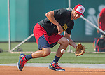 22 July 2016: Washington Nationals infielder Trea Turner fields grounders during batting practice, prior to a game against the San Diego Padres at Nationals Park in Washington, DC. The Padres defeated the Nationals 5-3 to take the first game of their 3-game, weekend series. Mandatory Credit: Ed Wolfstein Photo *** RAW (NEF) Image File Available ***