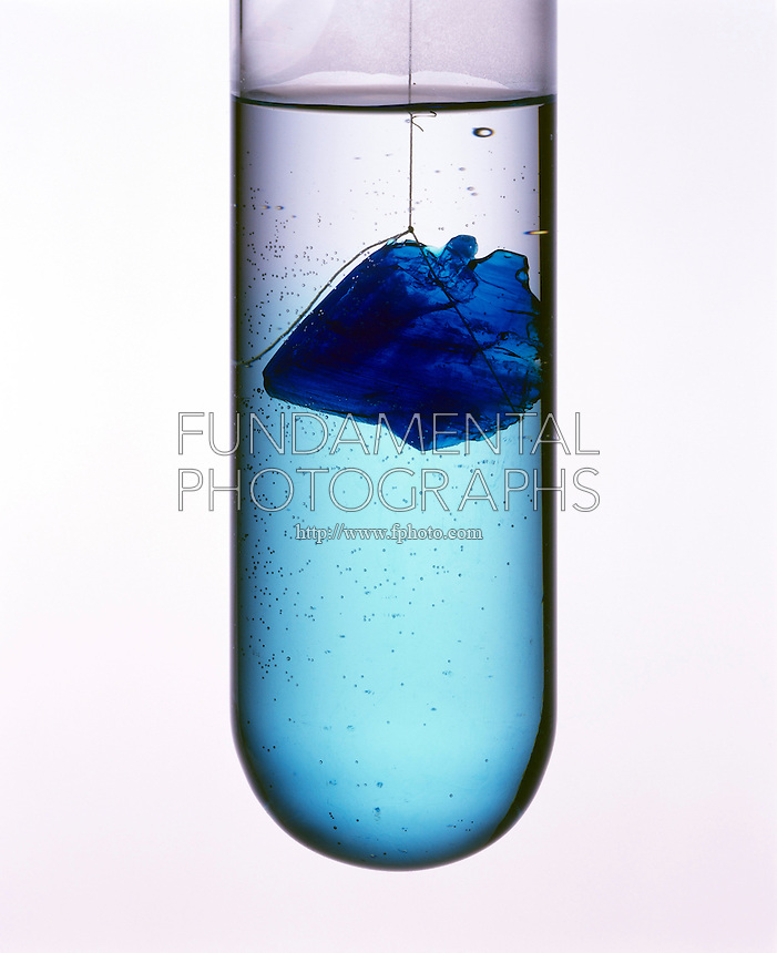 DISSOLUTION OF CUPRIC SULFATE CRYSTAL<br /> (Variations Available)<br /> CuSO4*5H2O (Copper II Sulfate)<br /> Cupric sulfate pentahydrate crystal dissolves in water. Fast moving water molecules strike vibrating exposed ions of the crystal. Positive side of H2O molecule attracts SO4 2- ions &amp; negative side of H2O molecule attracts Cu 2+ ions, causing dissolution.