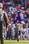 19 October 2014: Minnesota Vikings punter Jeff Locke kicks through the end zone for a touchback on a 48 yard punt in the fourth quarter against the Buffalo Bills at Ralph Wilson Stadium in Orchard Park, NY. The Bills defeated the Vikings 17-16 in a dramatic, last minute, comeback touchdown drive. Mandatory Credit: Ed Wolfstein Photo *** RAW (NEF) Image File Available ***