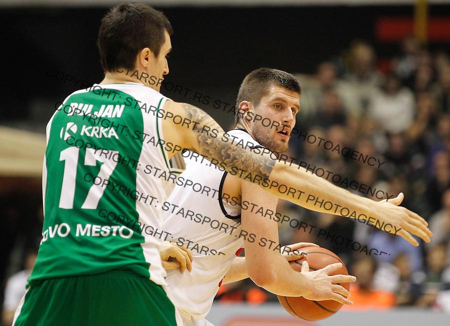 Kosarka ABA League season 2013-2014<br /> Partizan Vs. Krka Novo Mesto<br /> Djordje Gagic (R) and Zvonko Buljan<br /> Beograd, 01.12.2014.<br /> foto: Srdjan Stevanovic/Starsportphoto &copy;