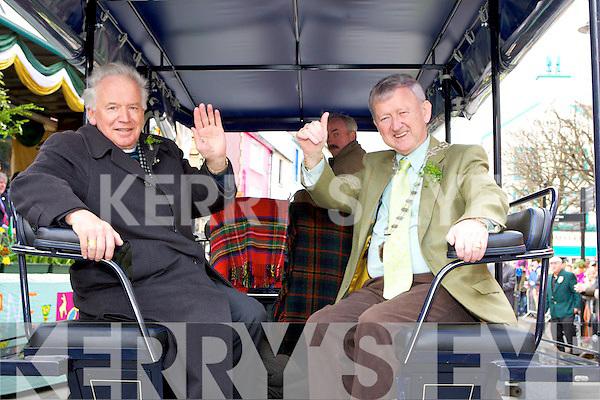 Grand Marshall of the Killarney St Patricks Day parade on Sunday waves at the crowd with Donal O'Grady Deputy Mayor..