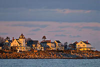 New Hampshire, Rye, Atlantic Ocean, houses on coast