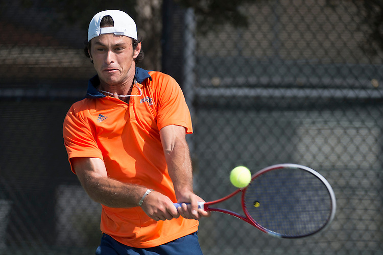April 27, 2013; San Diego, CA, USA; Pepperdine Waves player Mousheg Hovhannisyan during the WCC Tennis Championships at Barnes Tennis Center.