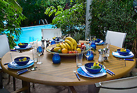 The garden table is laid for dinner with blue crockery and exotic yellow flowers in each place setting